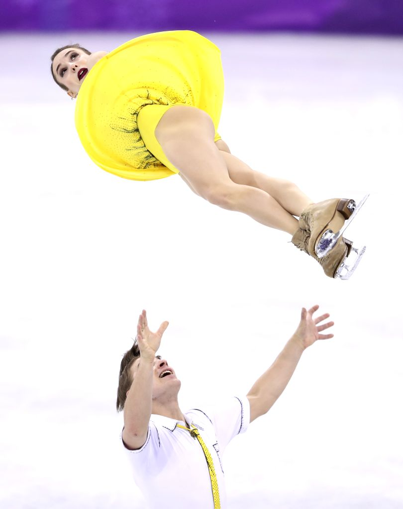 PYEONGCHANG, Feb. 15, 2018 - Olympic athletes from Russia Astakhova Kristina (top) and Rogonov Alexei compete during the pair skating free skating of figure skating at the 2018 PyeongChang Winter ...