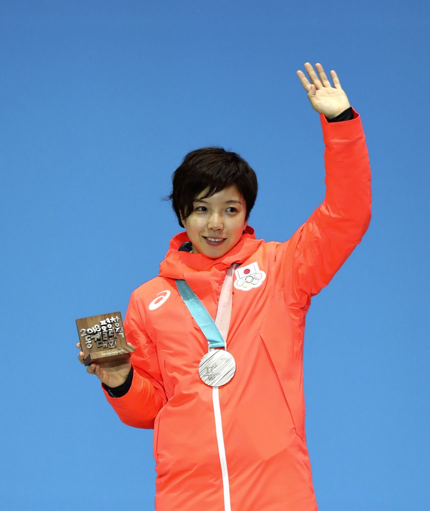PYEONGCHANG, Feb. 15, 2018 - Silver medalists Kodaira Nao of Japan poses for photos during medal ceremony of women's 1,000m speed skating event at PyeongChang 2018 Winter Olympic Games at Medal ...