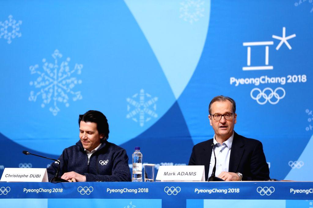 PYEONGCHANG, Feb. 6, 2018 - Mark Adams (R), spokesman of International Olympic Committee attends IOC session press briefing held at PyeongChang, South Korea, Feb. 6, 2018. The 2018 PyeongChang ...