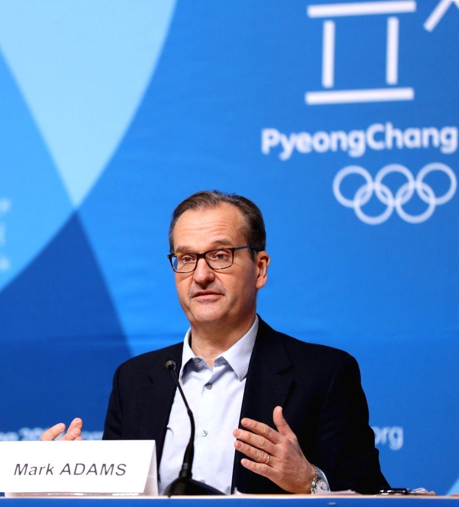 PYEONGCHANG, Feb. 6, 2018 - Mark Adams, spokesman of International Olympic Committee addresses IOC session press briefing held at PyeongChang, South Korea, Feb. 6, 2018. The 2018 PyeongChang Olympic ...