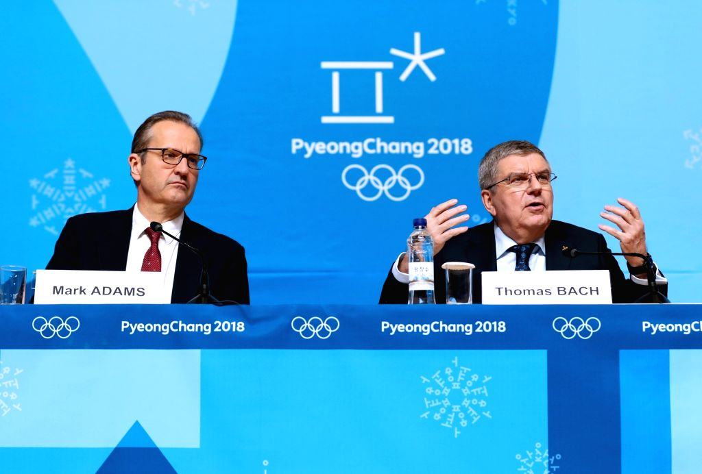 PYEONGCHANG, Feb. 7, 2018 - International Olympic Committee president Thomas Bach (R) addresses during a press conference held at Main Press Centre of 2018 PyeongChang Winter Olympic Games, South ...