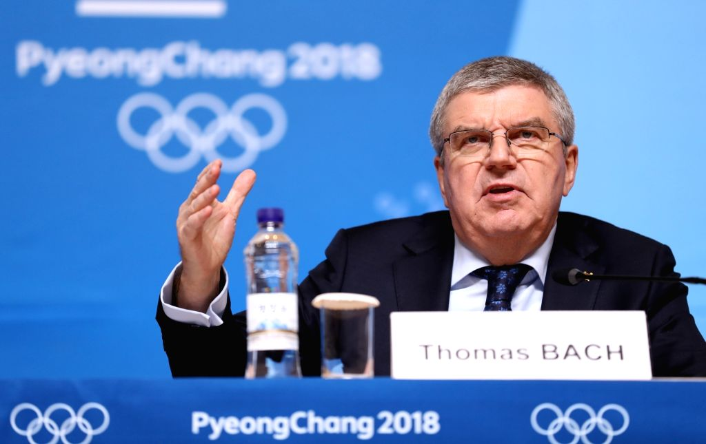 PYEONGCHANG, Feb. 7, 2018 - International Olympic Committee president Thomas Bach addresses during a press conference held at Main Press Centre of 2018 PyeongChang Winter Olympic Games, South Korea, ...