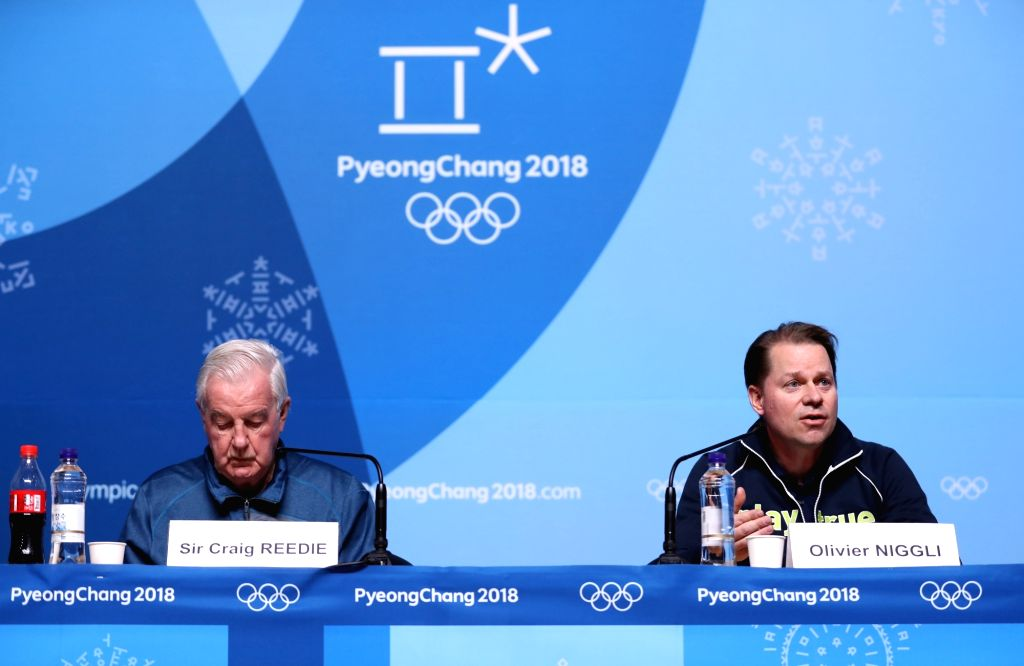 PYEONGCHANG, Feb. 8, 2018 - Craig Reedie (L), president of World Anti-Doping Agency (WADA), and WADA Director General Olivier Niggli attend a press conference at the Main Press Center in Pyeongchang, ...