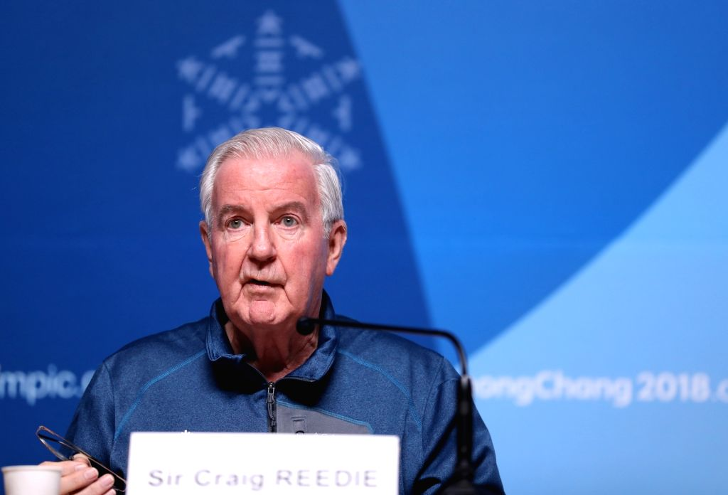 PYEONGCHANG, Feb. 8, 2018 - Craig Reedie, president of World Anti-Doping Agency (WADA), attends a press conference at the Main Press Center in Pyeongchang, South Korea, Feb. 8, 2018. The Pyeongchang ...