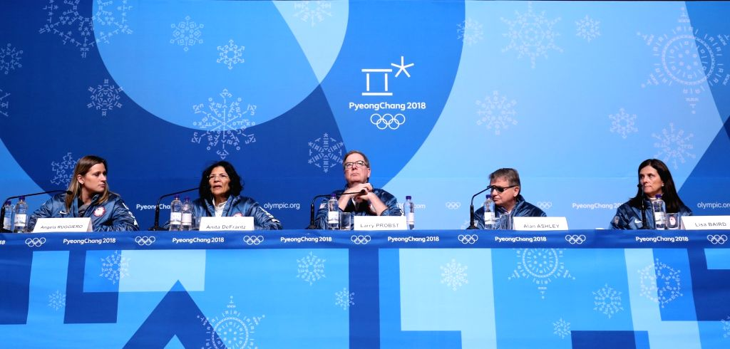 PYEONGCHANG, Feb. 9, 2018 - Chairman of the United States Olympic Committee Larry Probst (C) and representatives of USA winter olympics delegation participate in a press conference at the Main Press ...