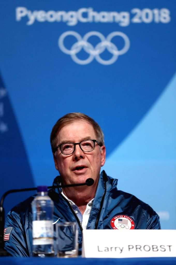 PYEONGCHANG, Feb. 9, 2018 - Chairman of the United States Olympic Committee Larry Probst participates in a press conference at the Main Press Center in PyeongChang, South Korea, Feb. 9, 2018.