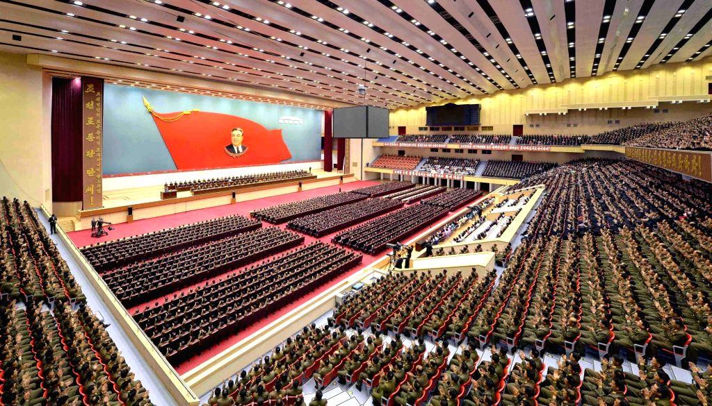 PYONGYANG, April 15, 2016 - Photo provided by Korean Central News Agency (KCNA) on April 15, 2016 shows a national meeting taking place at the Pyongyang Indoor Stadium in Pyongyang, the Democratic ...