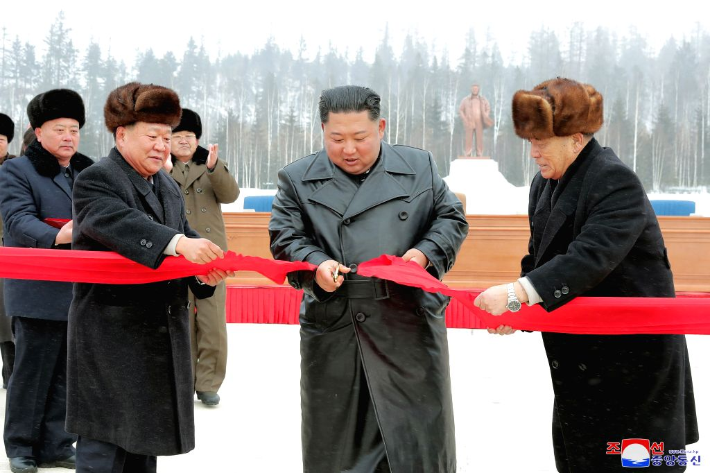 PYONGYANG, Dec. 3, 2019 - Kim Jong Un, top leader of the Democratic People's Republic of Korea (DPRK), attends a ribbon-cutting ceremony at the township of Samjiyon County in the northern part of the ...