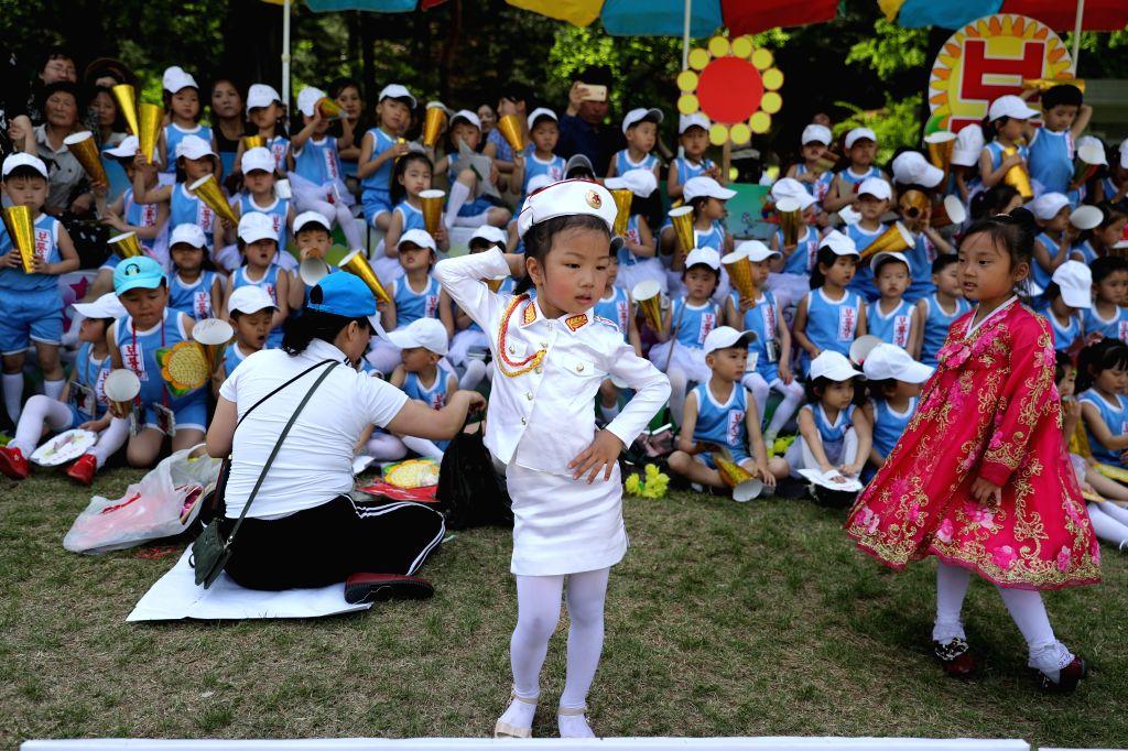 PYONGYANG, June 1, 2019 - Children celebrates the International Children's Day at Taesongsan Fun Fair in Pyongyang, Democratic People's Republic of Korea, June 1, 2019.