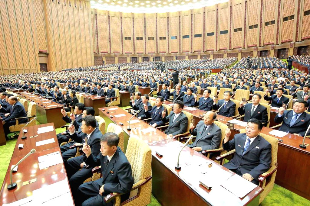 PYONGYANG, June 30, 2016 - Photo provided by Korean Central News Agency (KCNA) on June 30, 2016 shows the Fourth Session of the 13th Supreme People's Assembly (SPA) of the Democratic People's ...