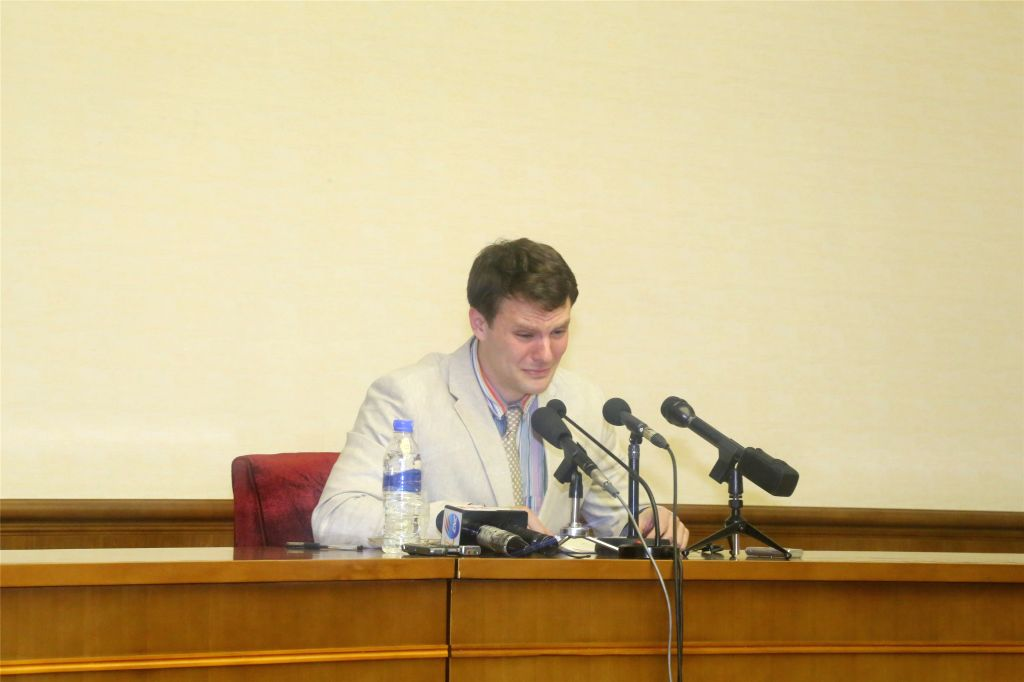 PYONGYANG, March 1, 2016 (Xinhua) -- Otto Frederick Warmbier, a 21-year-old undergraduate student of commerce from Virginia University of the U.S., speaks during a news conference in Pyongyang, capital of the Democratic People's Republic of Korea (DP