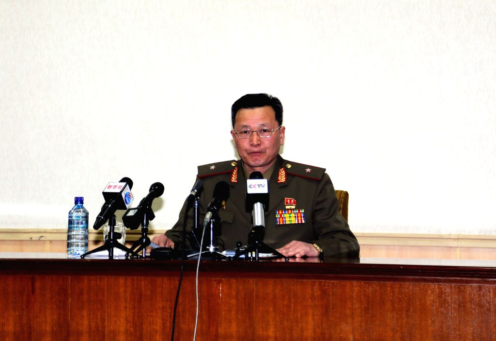 Photo taken on March 26, 2015 shows director of the state security department of the Democratic People's Republic of Korea (DPRK) speaking during a press ...