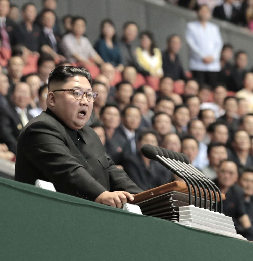 Pyongyang: North Korean leader Kim Jong-un gives a speech at the mass gymnastics and artistic performance, which he watched with visiting South Korean President Moon Jae-in, at the May Day Stadium in Pyongyang on Sept. 19, 2018. (Yonhap/IANS)