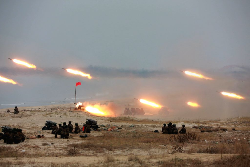 PYONGYANG, Nov. 19, 2016 - Photo provided by Korean Central News Agency (KCNA) on Nov. 19, 2016 shows a scene of a women gunners' firing contest in the Democratic People's Republic of Korea (DPRK). ...