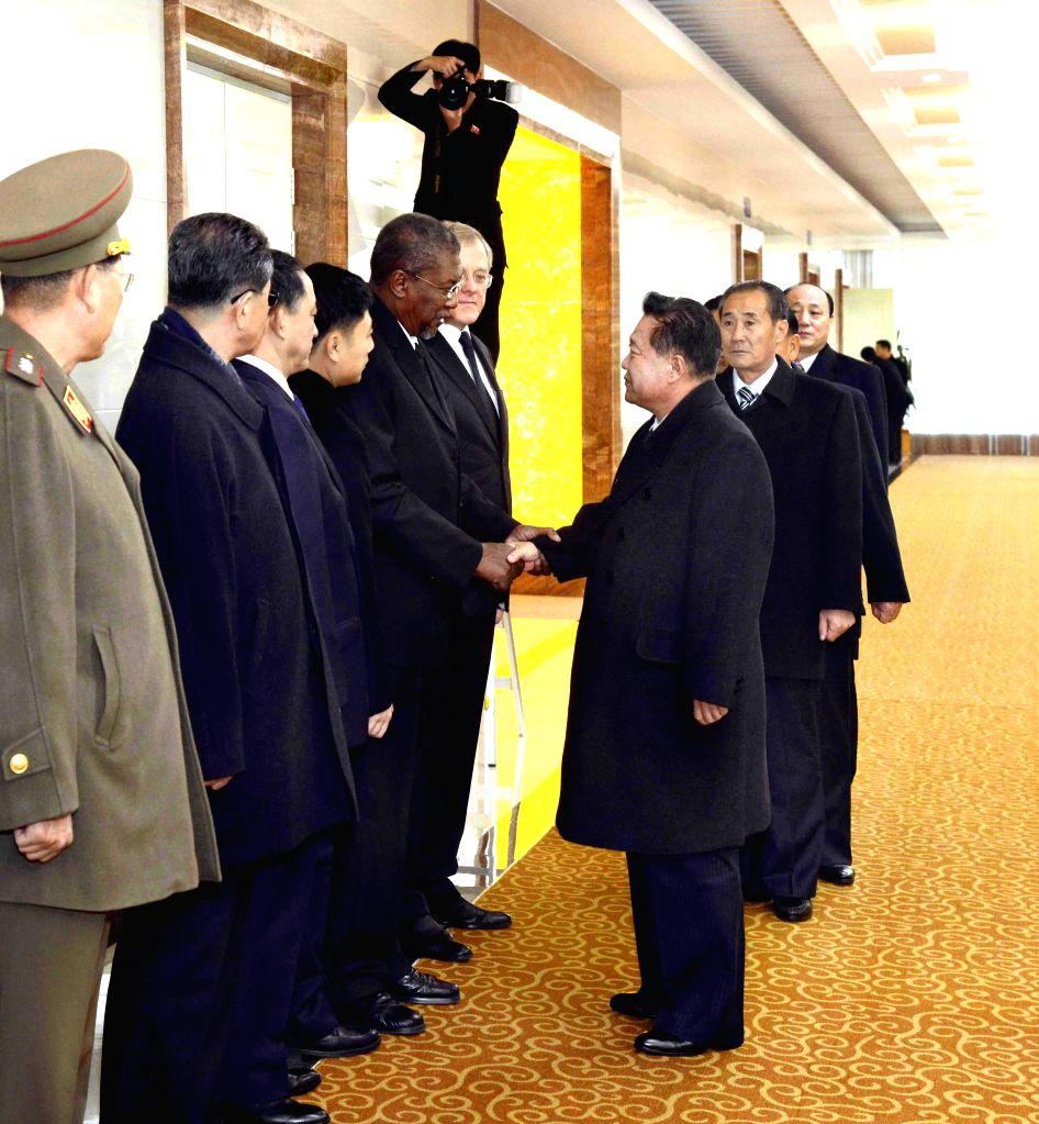 PYONGYANG, Nov. 28, 2016 - Photo provided by Korean Central News Agency (KCNA) on Nov. 28, 2016 shows a DPRK party and state delegation led by Choe Ryong Hae (1st R), a member of the Standing ...