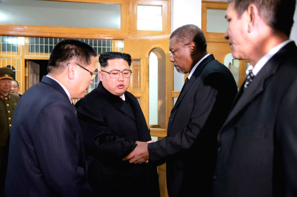 PYONGYANG, Nov. 29, 2016 - Photo provided by Korean Central News Agency (KCNA) shows top leader of the Democratic People's Republic of Korea (DPRK) Kim Jong Un (2nd L) sends his condolences to Cuban ...