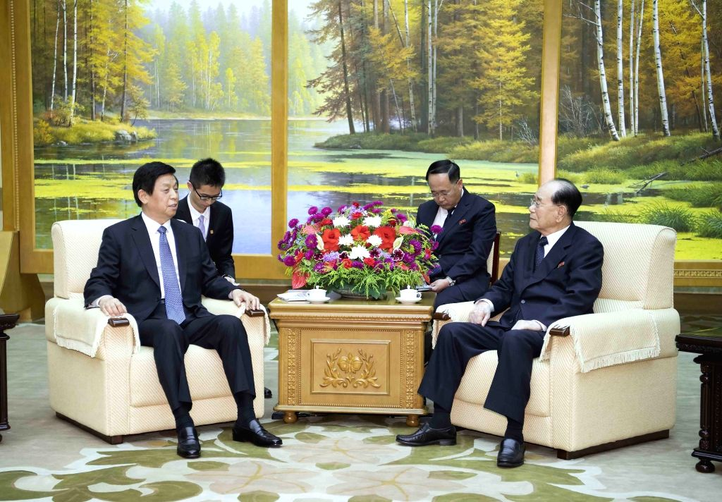PYONGYANG, Sept. 10, 2018 - China's top legislator Li Zhanshu (L) meets with Kim Yong Nam, member of the Presidium of the Political Bureau of the Central Committee of the Workers' Party of Korea ...