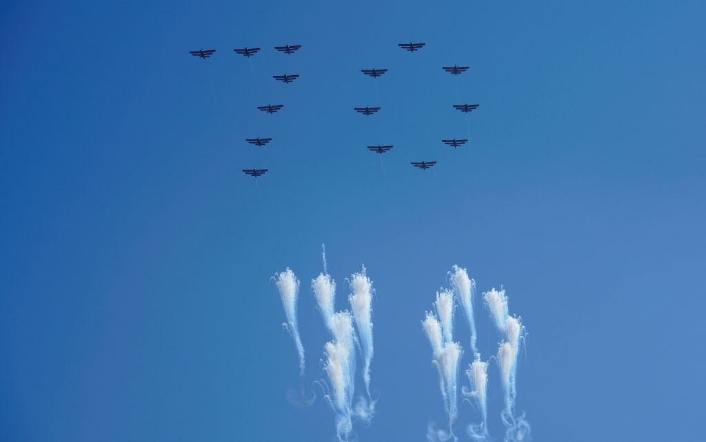 """PYONGYANG, Sept. 9, 2018 - Planes form the number """"70"""" in the sky during a parade to celebrate the 70th anniversary of the founding of the Democratic People's Republic of Korea (DPRK) in ..."""