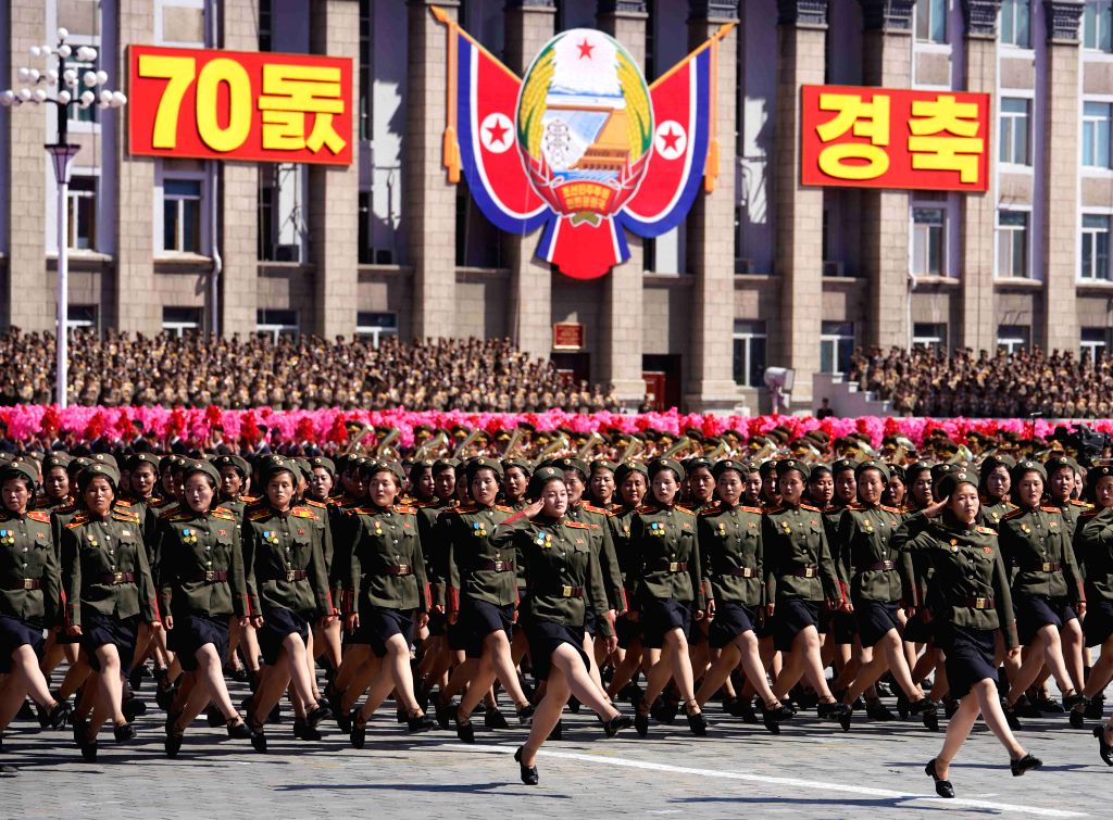 PYONGYANG, Sept. 9, 2018 - Soldiers march during a parade to celebrate the 70th anniversary of the founding of the Democratic People's Republic of Korea (DPRK) in Pyongyang, DPRK, on Sept. 9, 2018.