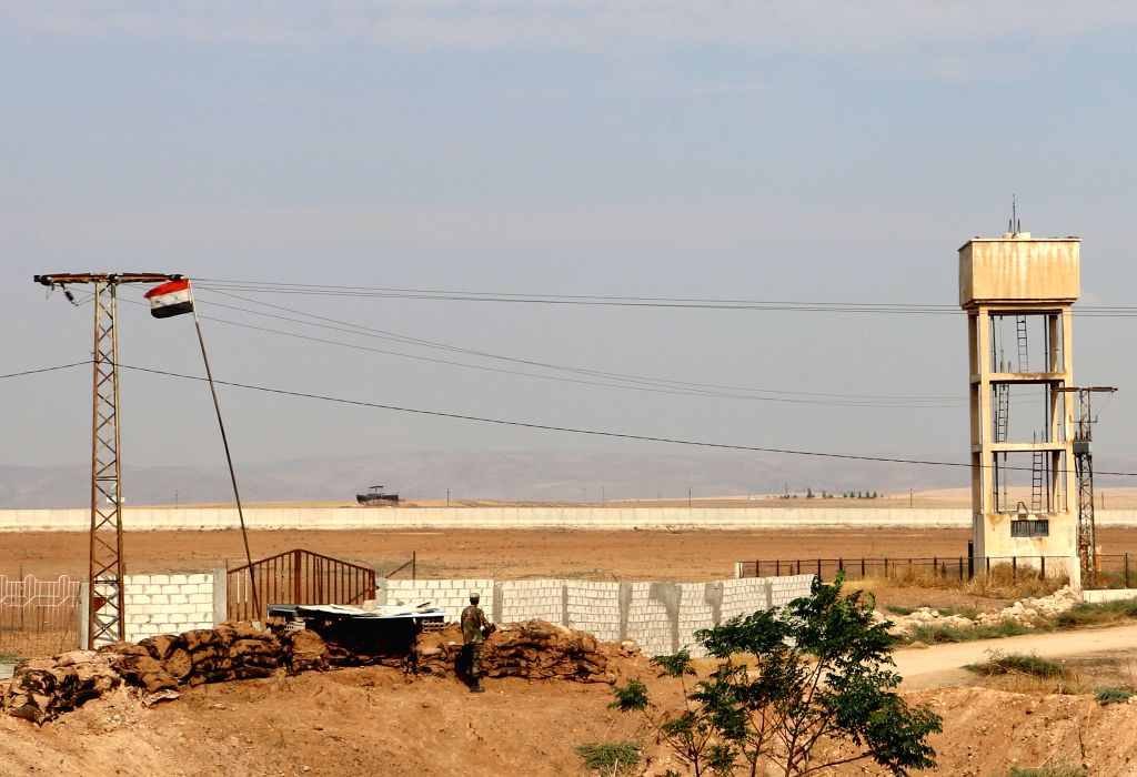 QAMISHLI (SYRIA), Oct. 28, 2019 A Syrian soldier is seen upon deploying on the Syrian-Turkish border in the countryside of Qamishli city in al-Hasakah province, northeastern Syria, on ...