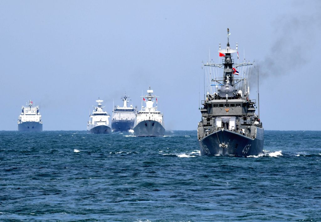 QINGDAO, April 27, 2019 - Naval vessels take part in a joint naval exercise on the sea off Qingdao, east China's Shandong Province, on April 26, 2019. China conducted a joint naval exercise with ...