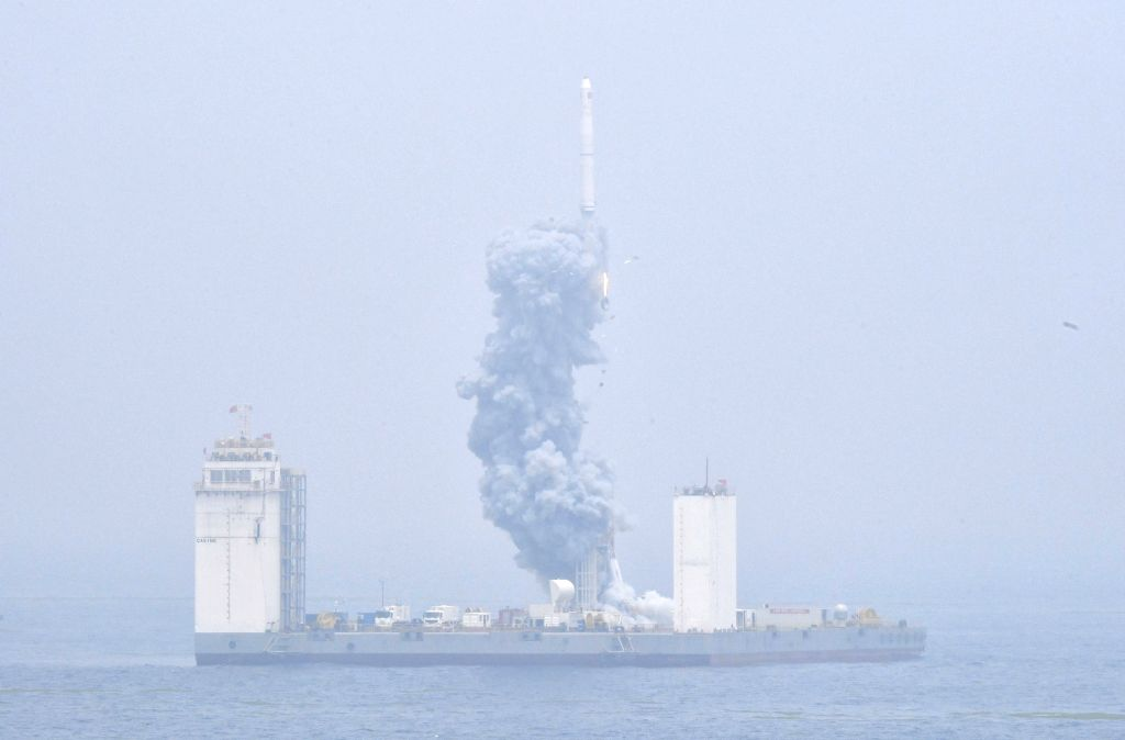QINGDAO, June 5, 2019 - A Long March-11 solid propellant carrier rocket is launched from a mobile launch platform in the Yellow Sea off east China's Shangdong Province, June 5, 2019. China ...