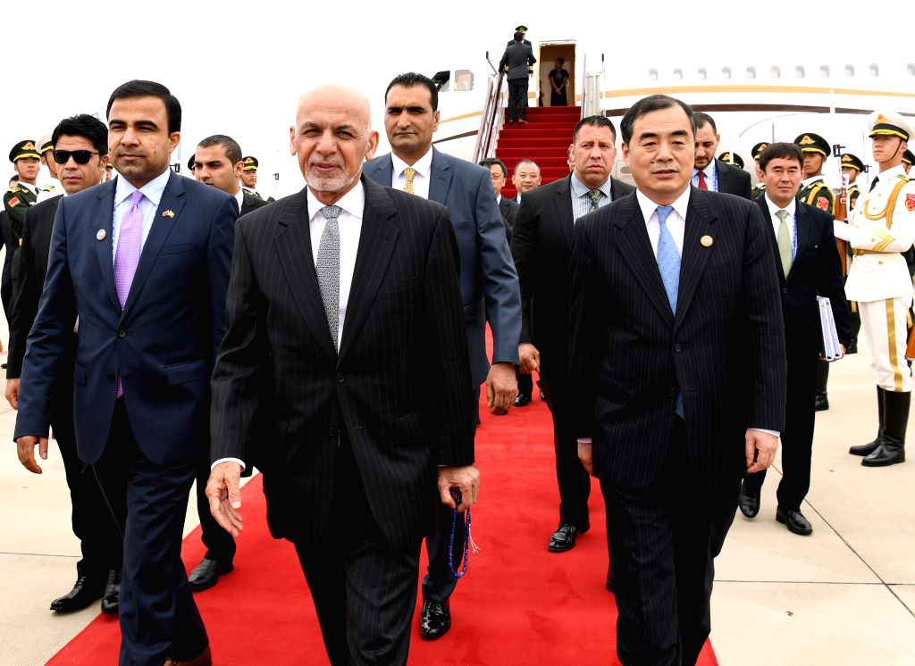 QINGDAO, June 9, 2018 - Afghan President Ashraf Ghani (C, front) arrives in Qingdao, east China's Shandong Province, June 9, 2018. Ghani is here to attend the 18th Shanghai Cooperation Organization ...