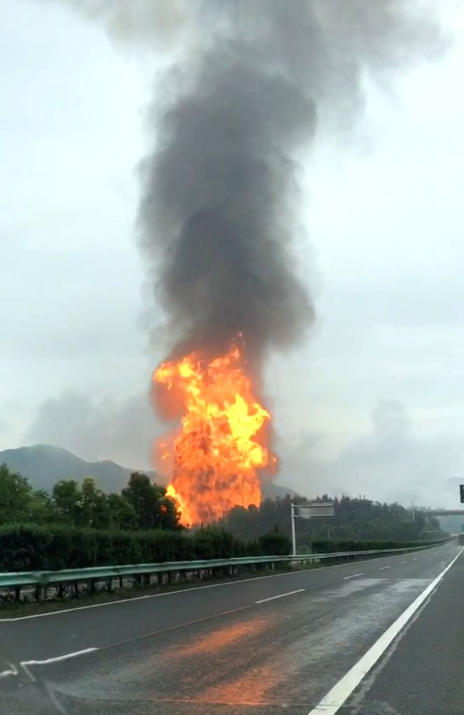 QINGLONG, July 2, 2017 - The site of a gas pipeline explosion is seen in Qinglong, southwest China's Guizhou Province, July 2, 2017. At least eight people died and another 35 were injured in a ...