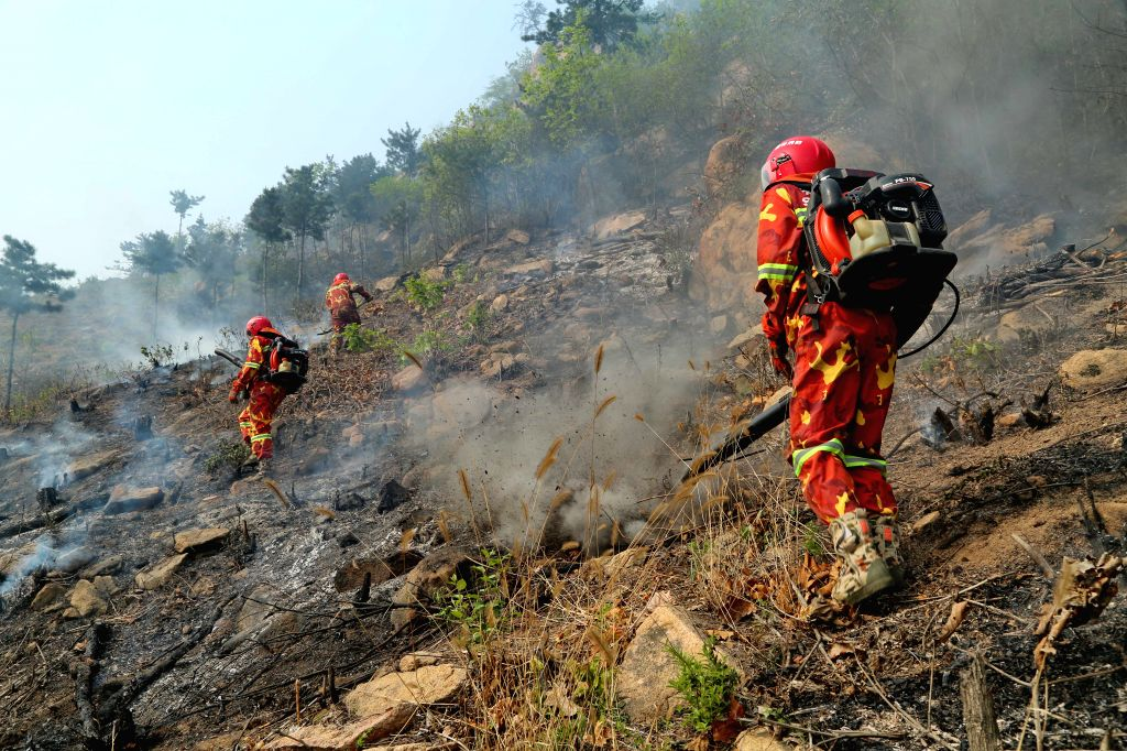 Firemen extinguish a blaze at a forest fire site in Funing, north China's Hebei Province, April 23, 2014. Forest fires occurred in Tianjiagou village and ...