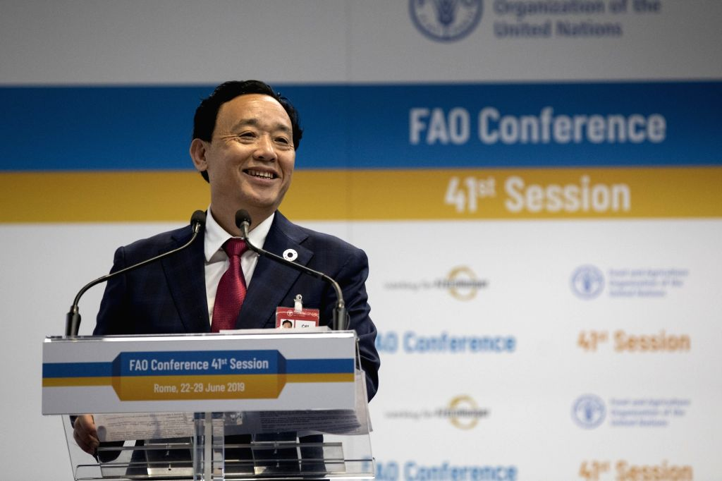 Qu Dongyu of China was elected the Director-General of the Food and Agriculture Organisation in Rome on Sunday, June 23, 2019, after India withdrew NITI Aayog member Ramesh Chand from the contest. (Photo: FAO/IANS)