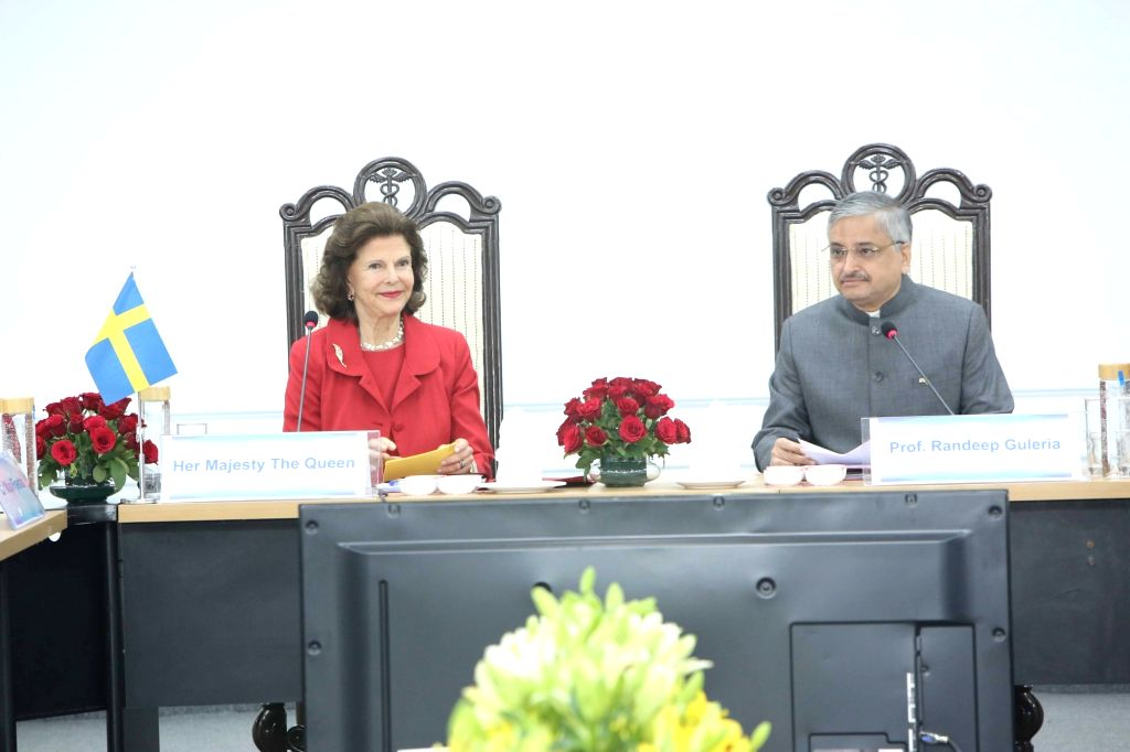 """Queen Silvia of Sweden and AIIMS Director Randeep Guleria during panel discussion on """"Quality of life for people with dementia"""" at AIIMS in New Delhi on Dec 3, 2019."""