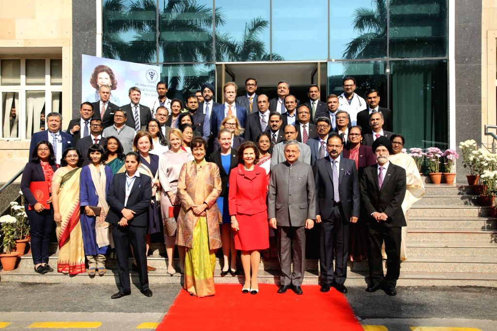 """Queen Silvia of Sweden and AIIMS Director Randeep Guleria in a group photograph after panel discussion on """"Quality of life for people with dementia"""" on her arrival at AIIMS in ..."""