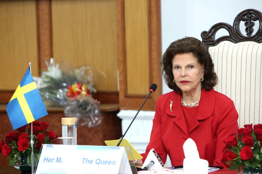 """Queen Silvia of Sweden during panel discussion on """"Quality of life for people with dementia"""" at AIIMS in New Delhi on Dec 3, 2019."""