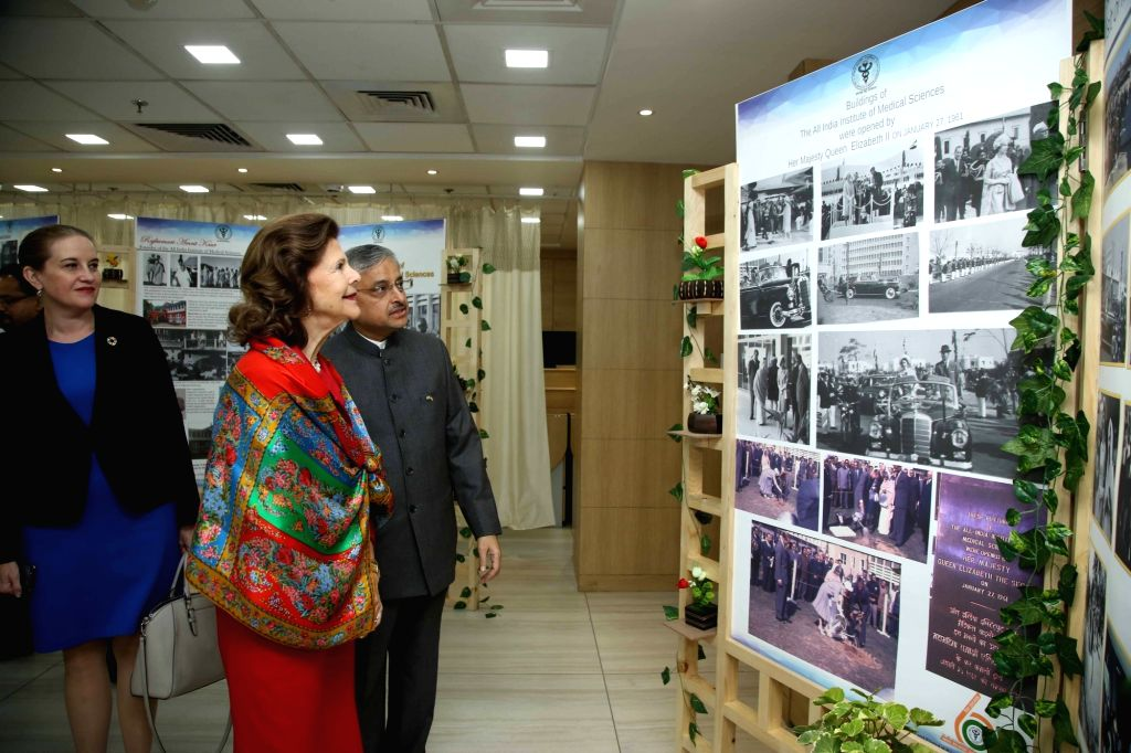 """Queen Silvia of Sweden with AIIMS Director Randeep Guleria during her visit to participate in a panel discussion on """"Quality of life for people with dementia"""" in New Delhi on Dec ..."""
