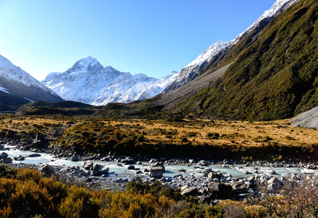 QUEENSTOWN, July 14, 2020 (Xinhua) -- Photo taken on July 13, 2020 shows New Zealand's highest mountain, Aoraki/Mount Cook, at Aoraki/Mount Cook National Park in the South Island of New Zealand. The Aoraki/Mount Cook National Park consists of 19 peak
