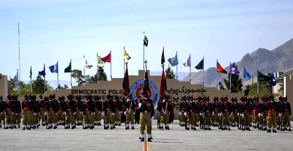 Pakistani policemen attend a passing out parade in southwest Pakistan's Quetta on April 13, 2015. As many as 81 out of 513 cadet officers from Balochistan were ...
