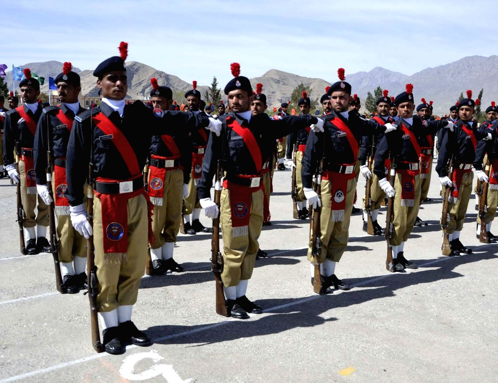 Pakistani policemen perform during a graduation ceremony in southwest Pakistan's Quetta on April 13, 2015. As many as 513 cadet officers from Balochistan were ...