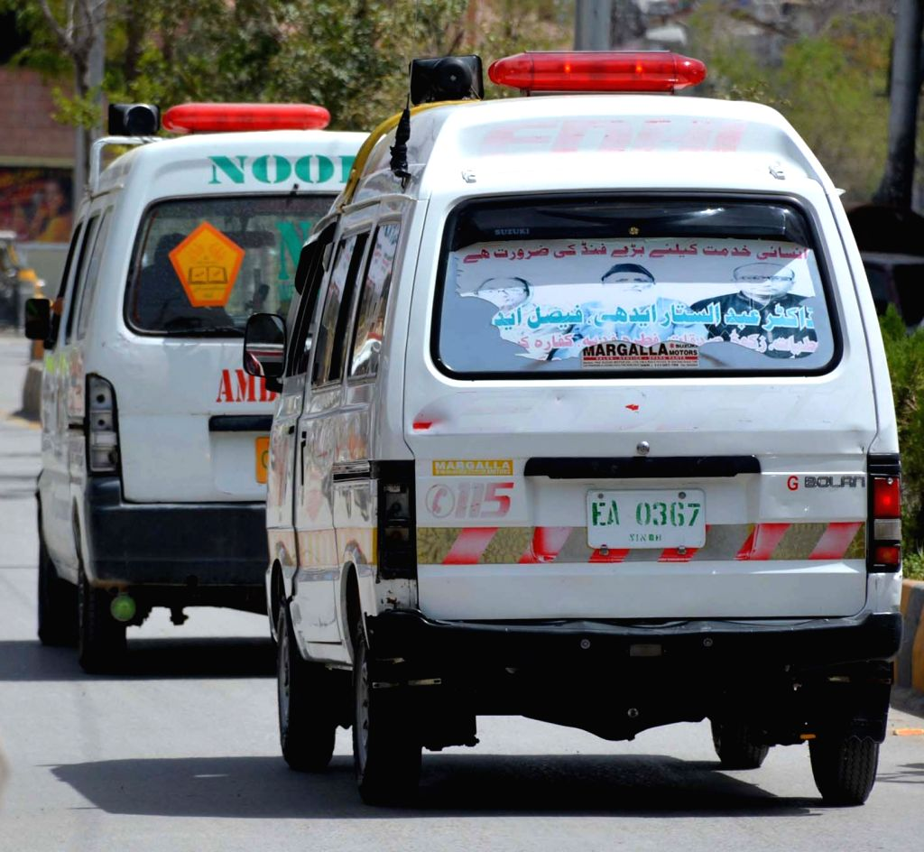 QUETTA, Aug. 1, 2016 - Ambulances carrying bodies of victims arrive at a hospital in southwestern Pakistan's Quetta on Aug. 1, 2016. At least two Shiite Muslims were killed as gunmen opened fire on ...