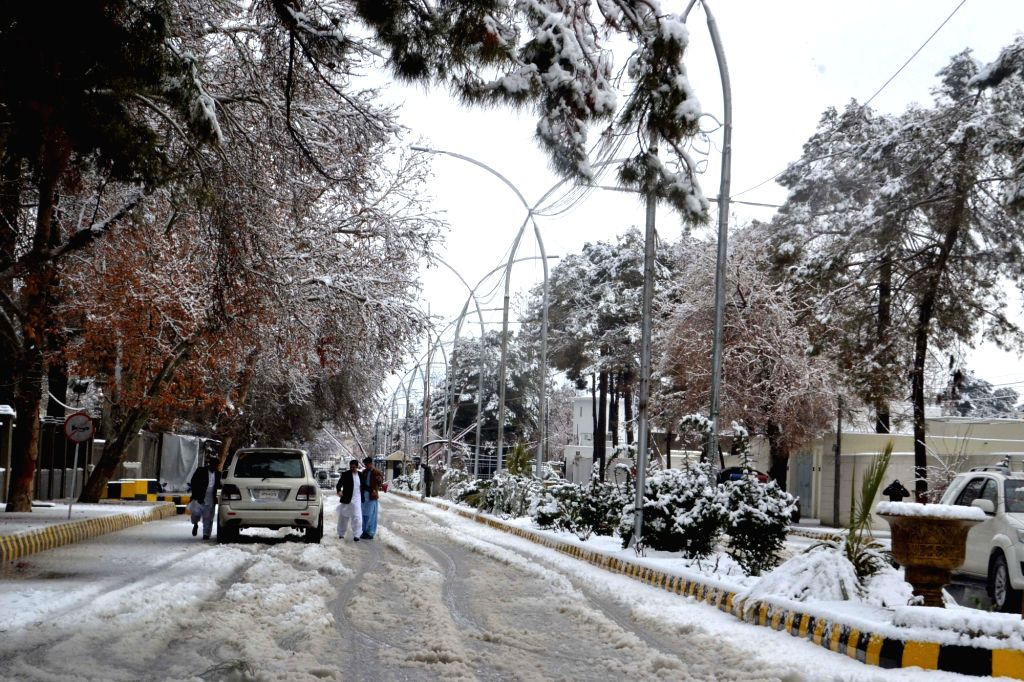 QUETTA, March 2, 2019 - Photo taken on March 2, 2019 shows a snow-covered road after a heavy snowfall in southwest Pakistan's Quetta.