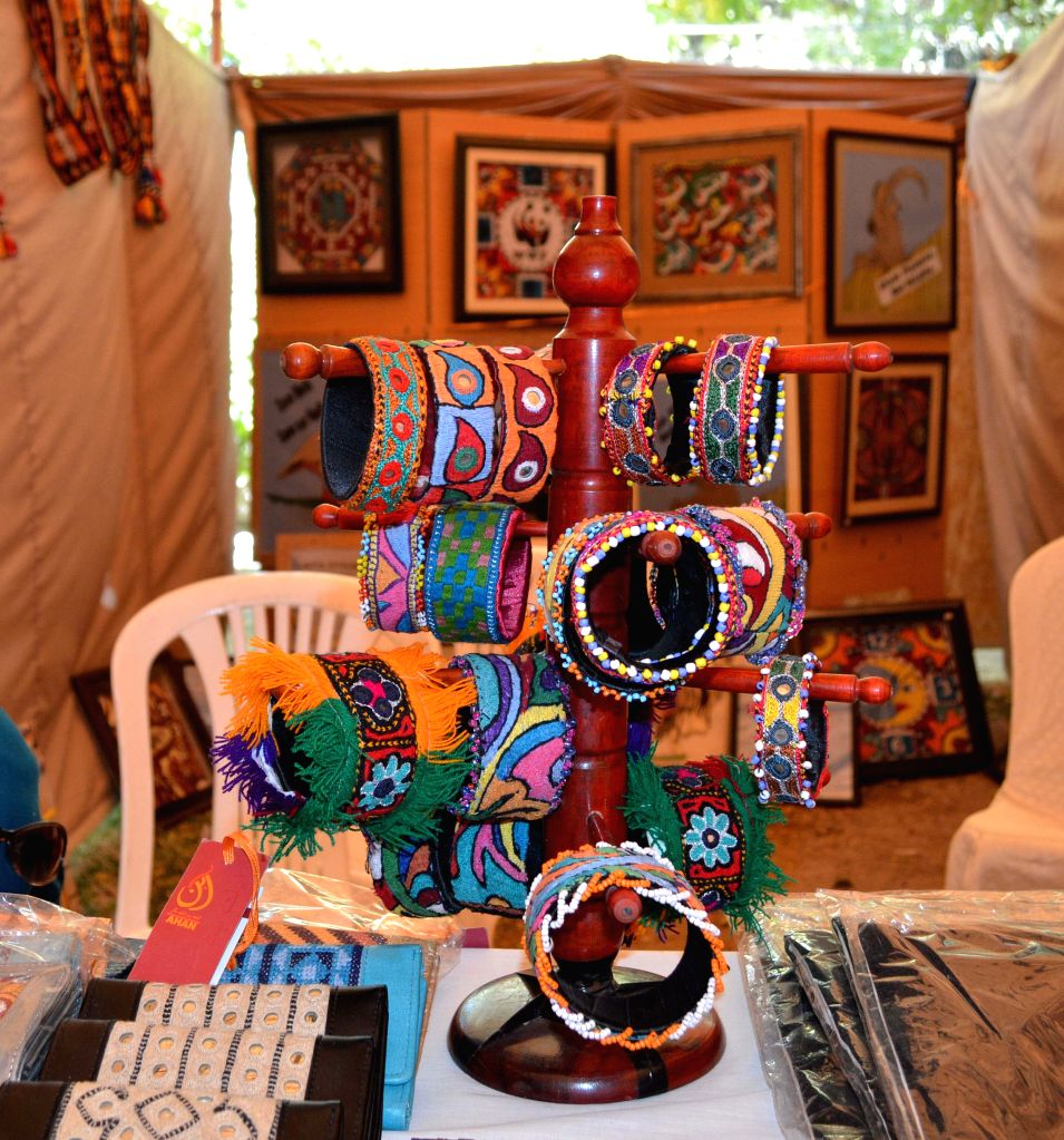 Traditional bangles are displayed on a stall at a traditional exhibition in southwest Pakistan's Quetta on March 26, 2015.