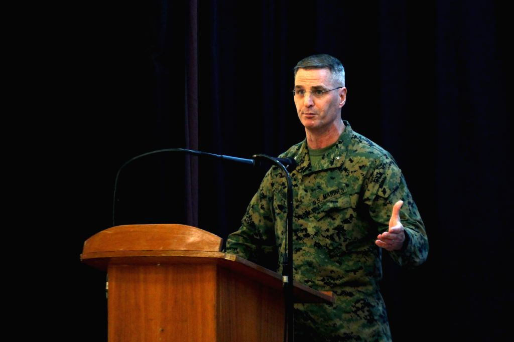 U.S. Marine Corps Brigadier General Christopher J. Mahoney speaks during the opening ceremony of the Balikatan Exercise between the Philippines and the United ...