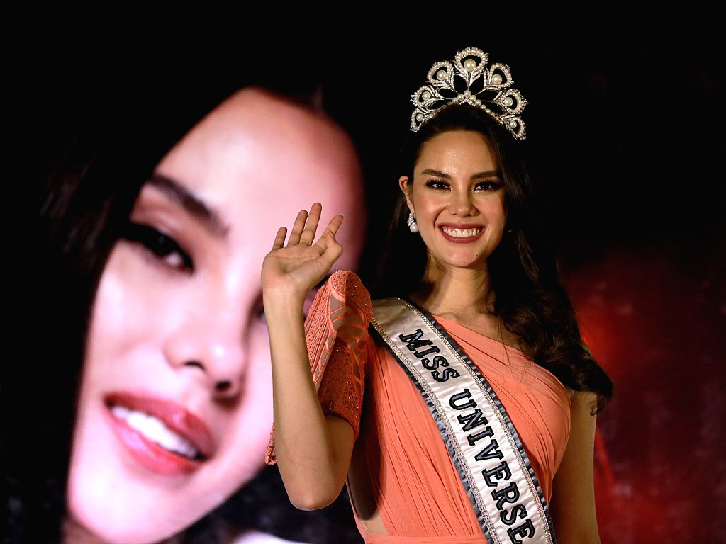 QUEZON CITY, Feb. 20, 2019 - Miss Universe 2018 Catriona Gray gestures during a press conference for her grand homecoming in Quezon City, the Philippines, Feb. 20, 2019. Gray won the 67th Miss ...