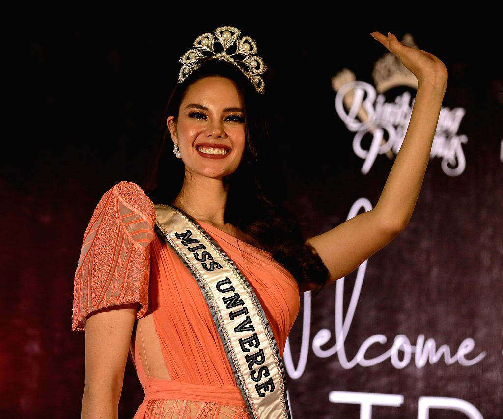 QUEZON CITY, Feb. 20, 2019 - Miss Universe 2018 Catriona Gray waves during a press conference for her grand homecoming in Quezon City, the Philippines, Feb. 20, 2019. Gray won the 67th Miss Universe ...