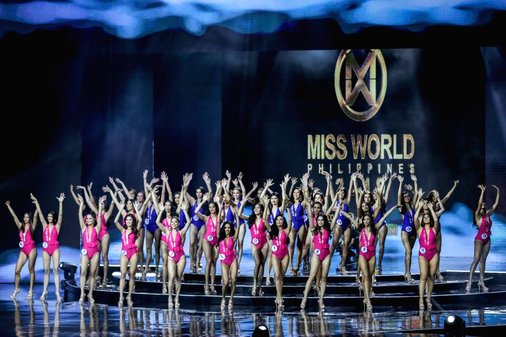 QUEZON CITY, Sept. 16, 2019 - Contestants pose in their swimsuits during the coronation night of Miss World Philippines 2019 in Quezon City, the Philippines, Sept. 15, 2019. Michelle Dee won the ...
