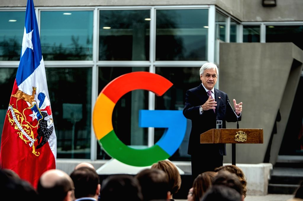 QUILICURA, Sept. 12, 2018 - Image provided by Chile's Presidency shows Chilean President Sebastian Pinera delivering a speech during the announcement of the expansion of Google's Chilean data center, ...