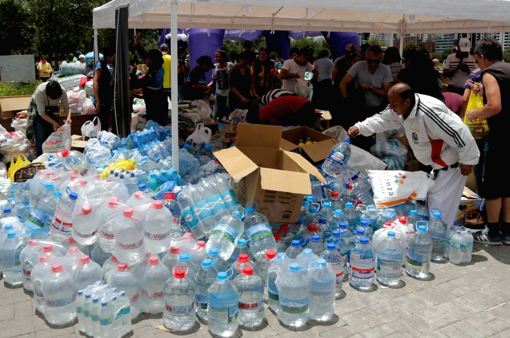 QUITO, April 18, 2016 - Humanitarian aid collected by Venezuelans living in Ecuador are seen in a collection center in Quito, Ecuador, on April 17, 2016.  The number of victims of a devastating ...