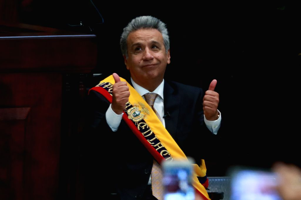 QUITO, May 24, 2017 - Lenin Moreno gestures during his swearing-in ceremony in Quito, capital of Ecuador, on May 24, 2017. Lenin Moreno was sworn in on Wednesday as president of Ecuador for the ...