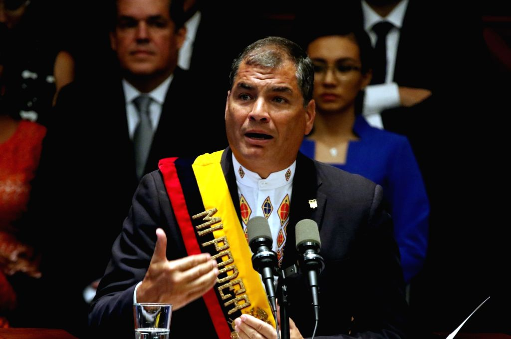 QUITO, May 25, 2016 - Ecuatorian President Rafael Correa delivers his last Report to the Nation before the National Assembly, in Quito, capital of Ecuador, on May 24, 2016.