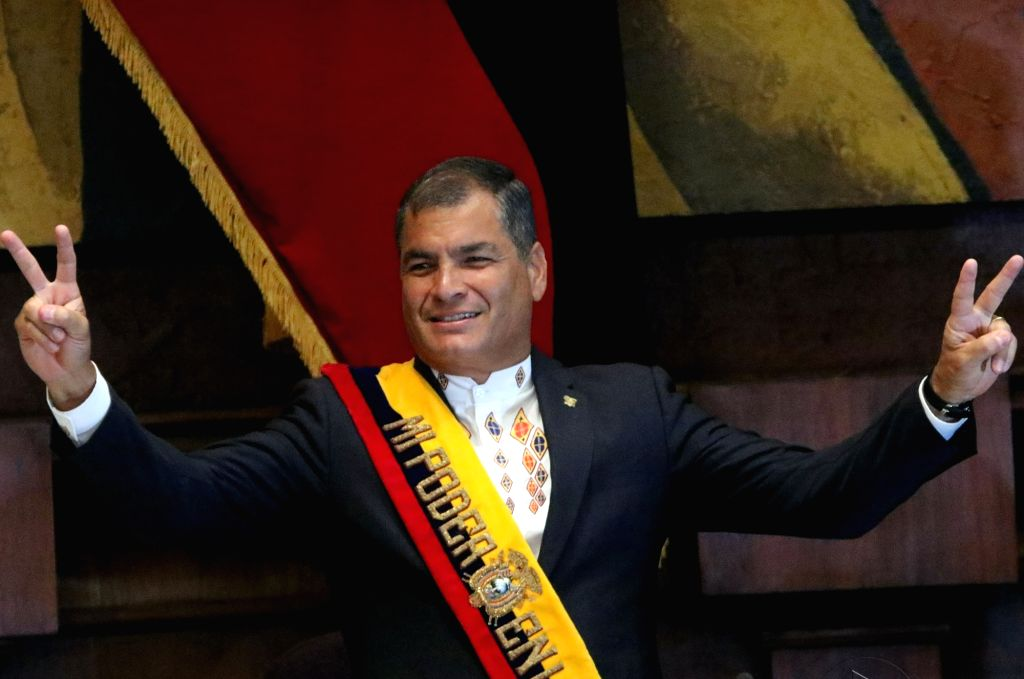 QUITO, May 25, 2016 - Ecuatorian President Rafael Correa gestures as he delivers his last Report to the Nation before the National Assembly, in Quito, capital of Ecuador, on May 24, 2016.