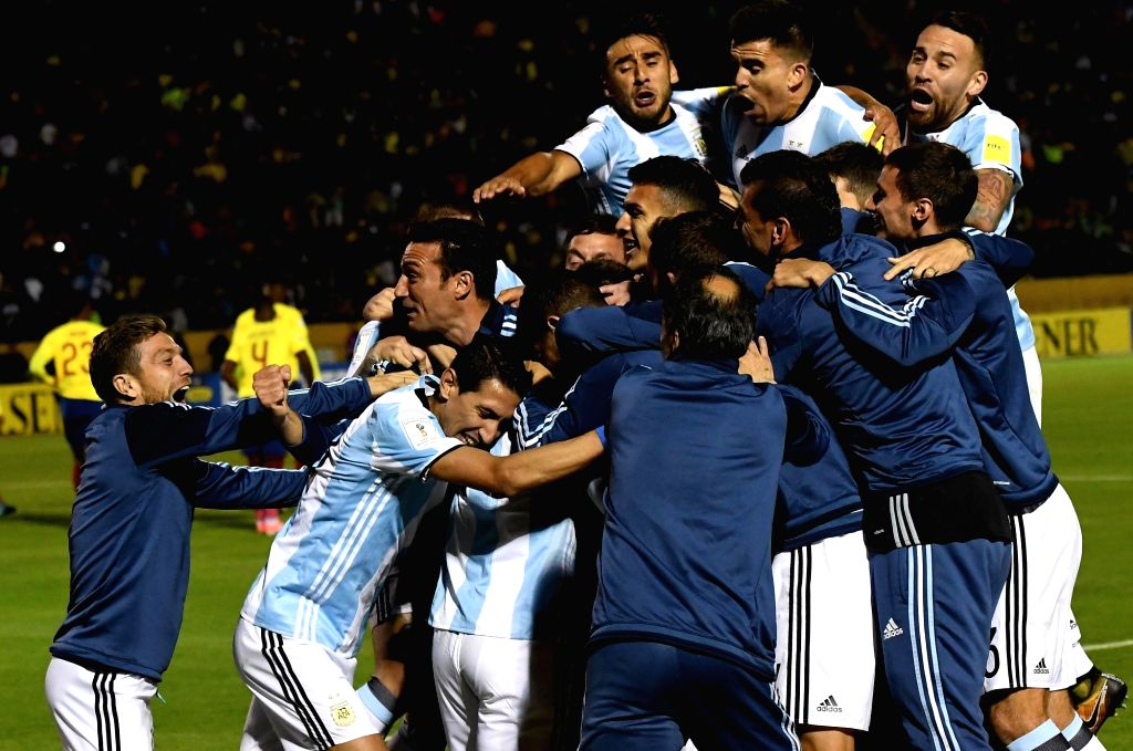 QUITO, Oct. 11, 2017 - Argentina's players celebrate after scoring during the FIFA World Cup 2018 qualifier match against Ecuador, at Atahualpa Olympic Stadium, in Quito, Ecuador, on Oct. 10, 2017.